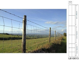 Galv. Stock Fencing Light ~ L8/100/15 ~ 1m x 50m 2.5mm/2mm wire